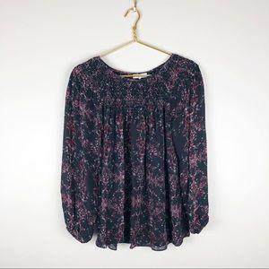 Parker Floral Silk Peasant Blouse Long Sleeve